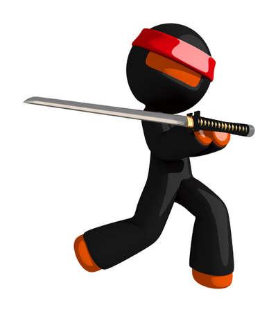 samurai sword: Orange Man Ninja Warrior Elegant Sword Pose Stock Photo