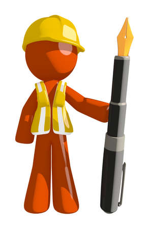 Orange Man Construction Worker  Holding Fountain Pen Stock Photo