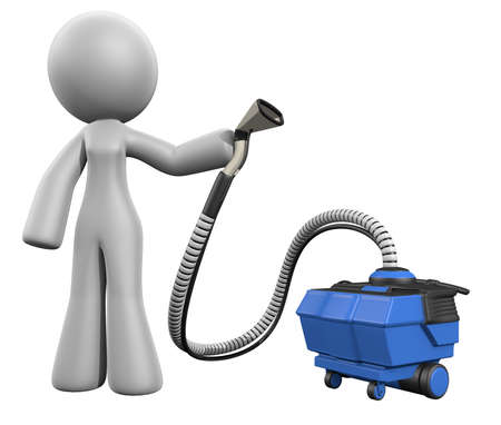carpet clean: 3d lady with upholstery extraction machine