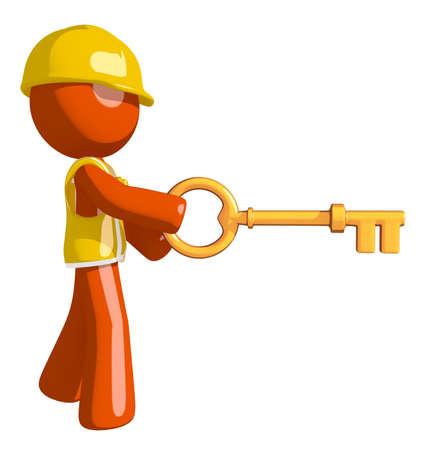 cartoon hat: Orange Man Construction Worker  Inserting Key Stock Photo