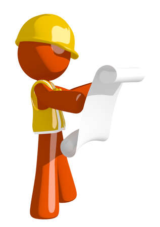orange man: Orange Man Construction Worker  Reading Schematic Front