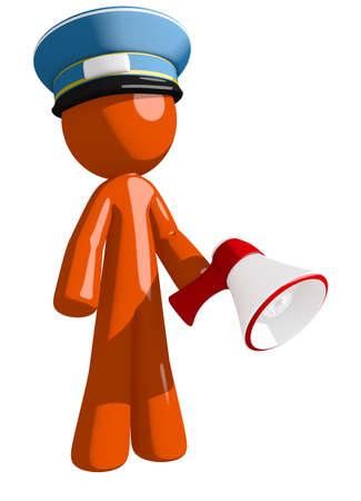 orange man: Orange Man postal mail worker  Holding Megaphone and Standing