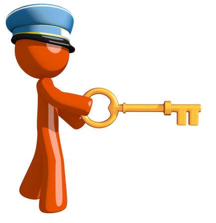 mail man: Orange Man postal mail worker  Inserting Key Stock Photo