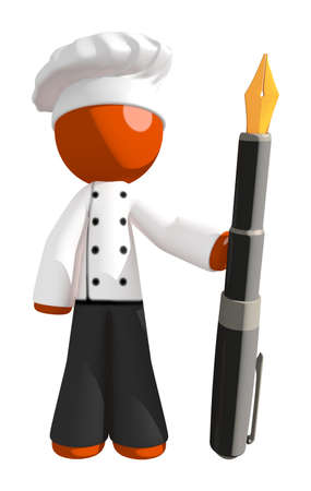 professional chef: Orange Man Chef Holding Fountain Pen