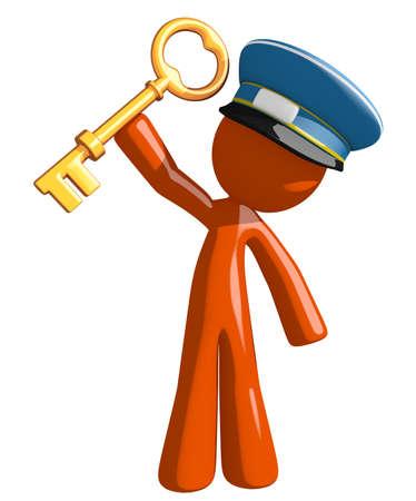 orange man: Orange Man postal mail worker  Holding Up Key to Success