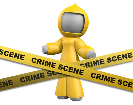 industrial accident: 3d lady behind crime scene tape wearing bio-hazard suit.