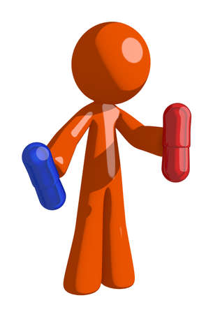 heartache: Orange Man Holding Pills