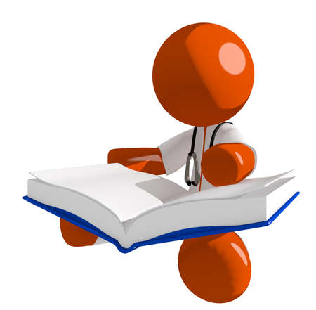 literate: Orange Man doctor Sitting Reading Big Book