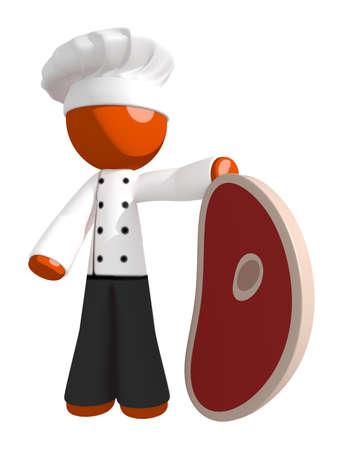 3d chef: Orange Man Chef Holding Giant Steak Stock Photo