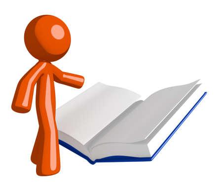 cartoon orange: Orange Man Reading Open Book Stock Photo