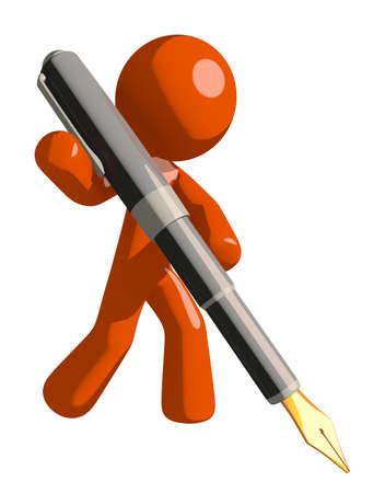 Orange Man Writing With Fountain Pen Stock Photo