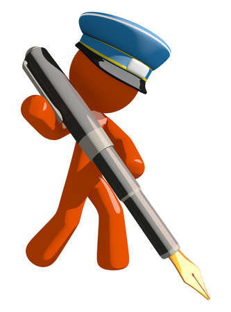 fountains: Orange Man postal mail worker  Writing With Fountain Pen Stock Photo