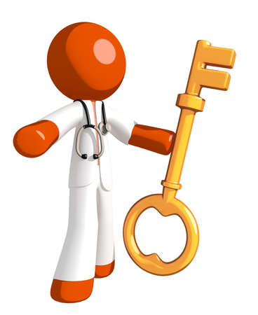 orange man: Orange Man doctor Holding Key