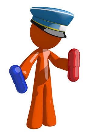 personas enfermas: Hombre anaranjado correo postal trabajador celebraci�n de las p�ldoras