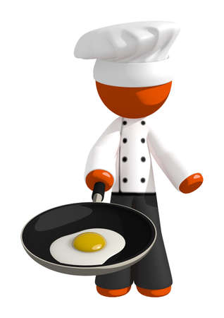 cocina saludable: Orange Man Chef with Frying Pan and Egg
