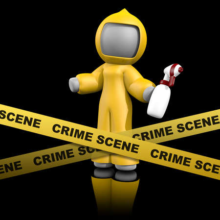 scene: 3d lady crime scene cleaner getting ready to clean a crime scene in a valid and legal way.