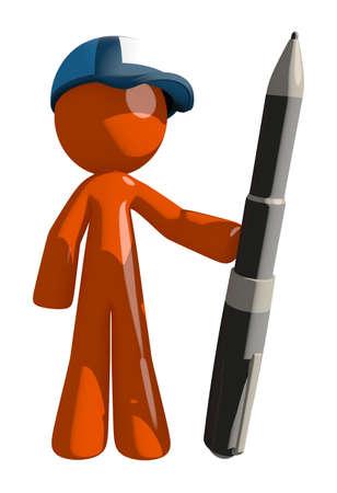 mailman: Orange Man postal mail worker  Holding Giant Pen Stock Photo