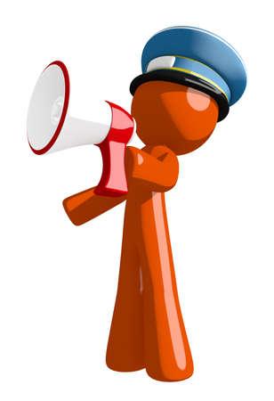 mail man: Orange Man postal mail worker  Shouting in Bullhorn