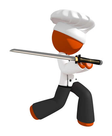 Orange Man Chef Ninja Strijder stelt met Ninja Sword Stockfoto