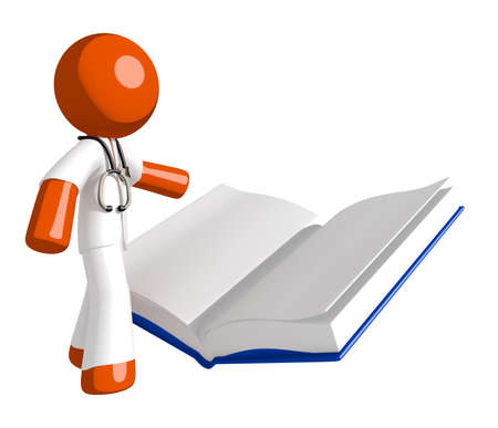 literate: Orange Man doctor Reading Open Book Stock Photo