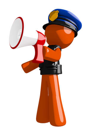 bullhorn: Orange Man police officer  Shouting in Bullhorn Stock Photo