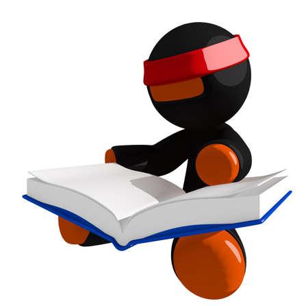 stealth: Orange Man Ninja Warrior Sitting Reading Book
