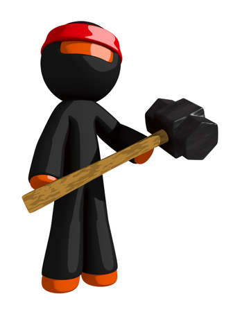 ninja tool: Orange Man Ninja Warrior Warrior Holding Giant Sledge Hammer Stock Photo