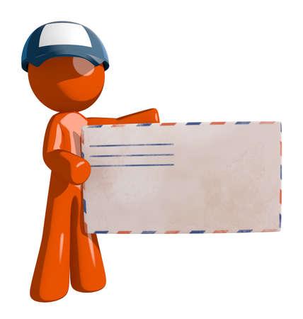 mail man: Orange Man postal mail worker holding Large Envelope Stock Photo