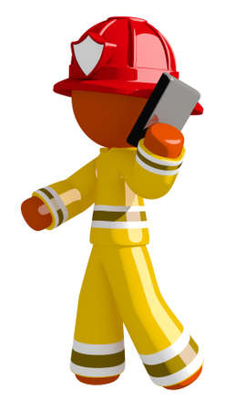 Orange Man Firefighter Using Phone and Walking
