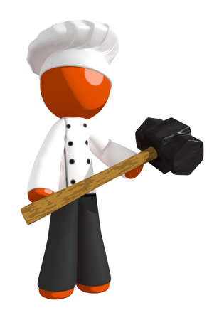 brute: Orange Man Chef Holding Sledge Hammer