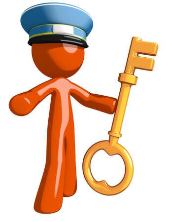 Orange Man postal mail worker  Holding Key