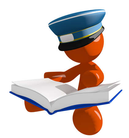 student studying: Orange Man postal mail worker  Sitting Reading Big Book Stock Photo
