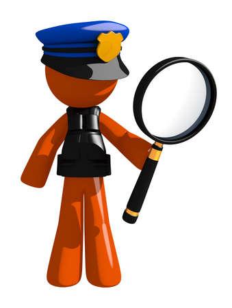 security uniform: Orange Man police officer  Holding Magnifying Glass