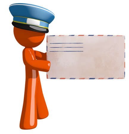 orange man: Orange Man postal mail worker holding Envelope