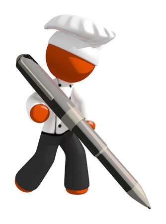 Orange Man Chef Writing With Large Pen Stock Photo