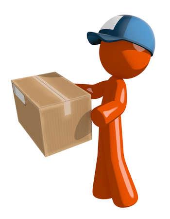 mailman: Orange Man postal mail worker  Delivering a Package