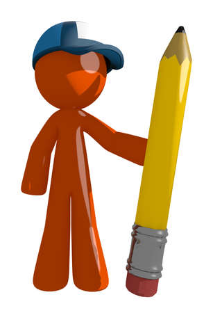 literate: Orange Man postal mail worker  Holding Giant Pencil Stock Photo