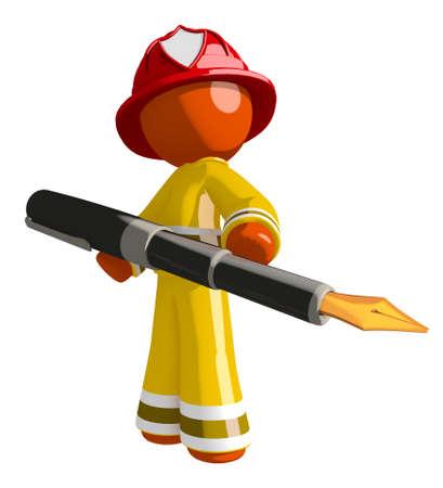 Orange Man Firefighter Holding Large Fountain Pen Stock Photo