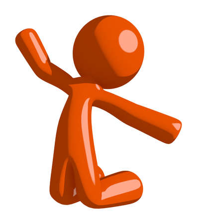 kneeling man: Orange Man Jumping or Kneeling