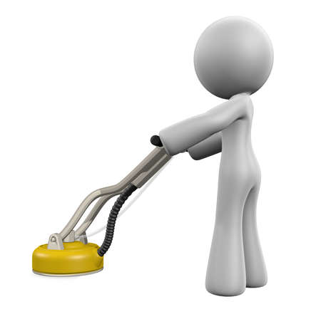 buffing: 3d lady with floor polishing machine, polishing the floor as a floor polisher does.