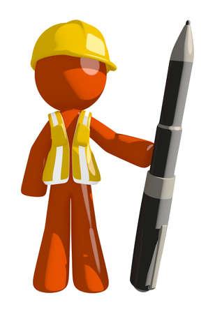 arquitecto: Orange Man Trabajador de construcci�n Holding Pen gigante Foto de archivo