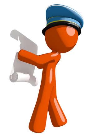 draftsmanship: Orange Man postal mail worker  Reading Schematic Stock Photo