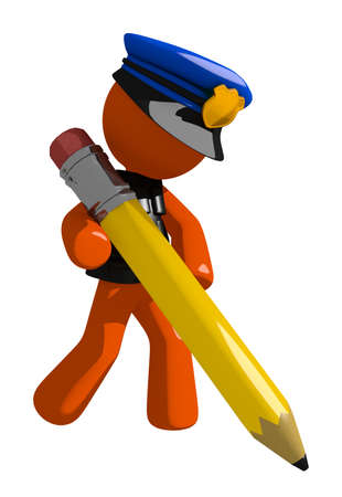 giant man: Orange Man police officer  Writing with Giant Pencil Stock Photo