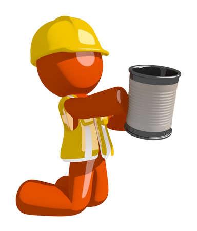 man begging: Orange Man Construction Worker  Asking for Charity