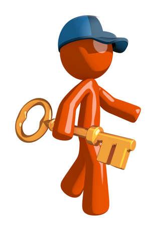 mail man: Orange Man postal mail worker  Walking with Gold Key