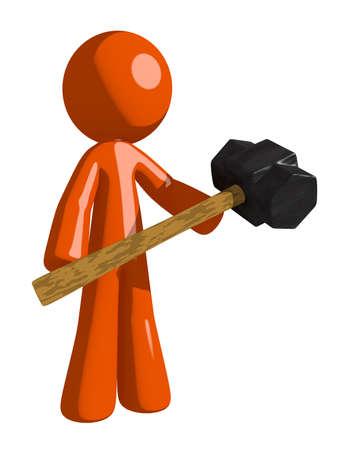 impact tool: Orange Man Man Holding Giant Sledge Hammer
