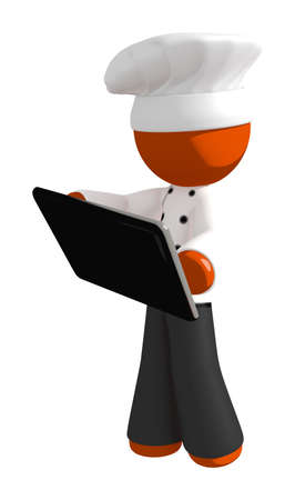computer device: Orange Man Chef with Computer Device Stock Photo