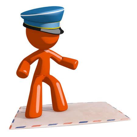 mailman: Orange Man postal mail worker  Surfing on  Envelope