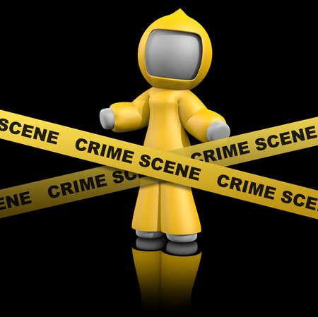 crime: 3d lady behind crime scene tape wearing bio hazard suit.