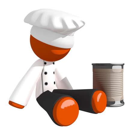 man begging: Orange Man Chef Begging for Money Stock Photo
